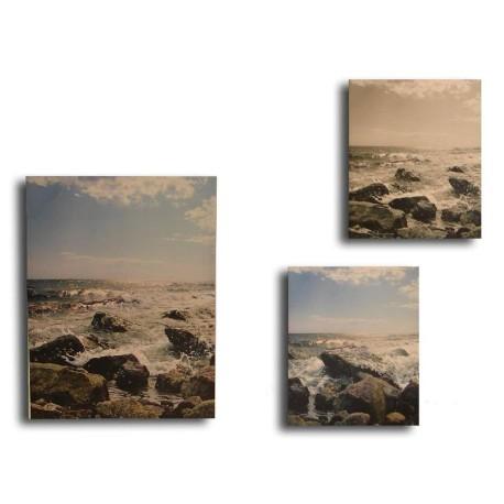 Pack 3 cuadros Playa y Rocas