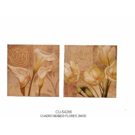 Pareja de cuadros Gladiolos y Tulipanes
